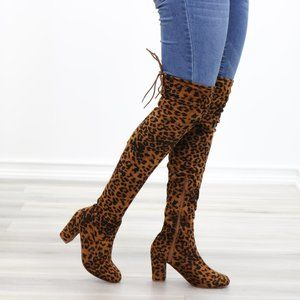 Suede Leopard Thigh High Heeled Boots